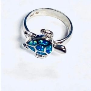 Jewelry - Sterling Silver/opal turtle ring size 8 1/2 - 9